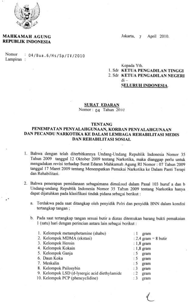 Surat Edaran Mahkamah Agung No.4 Thn.2010