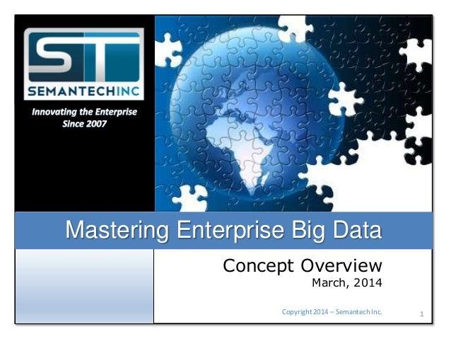 Mastering Enterprise Big Data Concept Overview  March, 2014  Copyright 2014 – Semantech Inc.  1