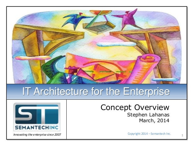 Concept Overview Stephen Lahanas March, 2014 1Copyright 2014 – Semantech Inc. IT Architecture for the Enterprise Innovatin...