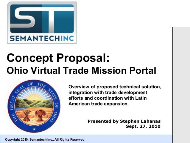 Concept Proposal: Ohio Virtual Trade Mission Portal Copyright 2010, Semantech Inc., All Rights Reserved Presented by Steph...