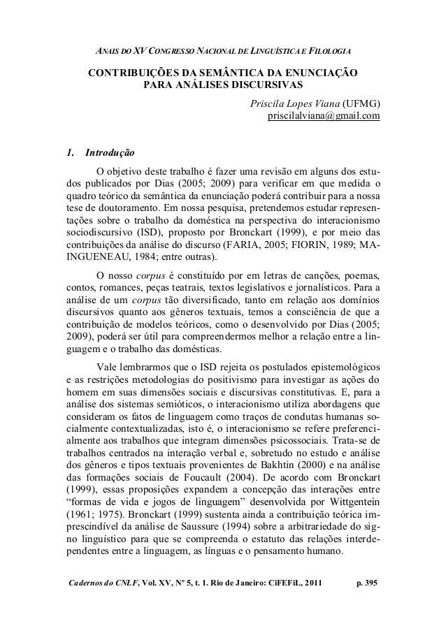 ANAIS DO XV CONGRESSO NACIONAL DE LINGUÍSTICA E FILOLOGIA Cadernos do CNLF, Vol. XV, Nº 5, t. 1. Rio de Janeiro: CiFEFiL, ...