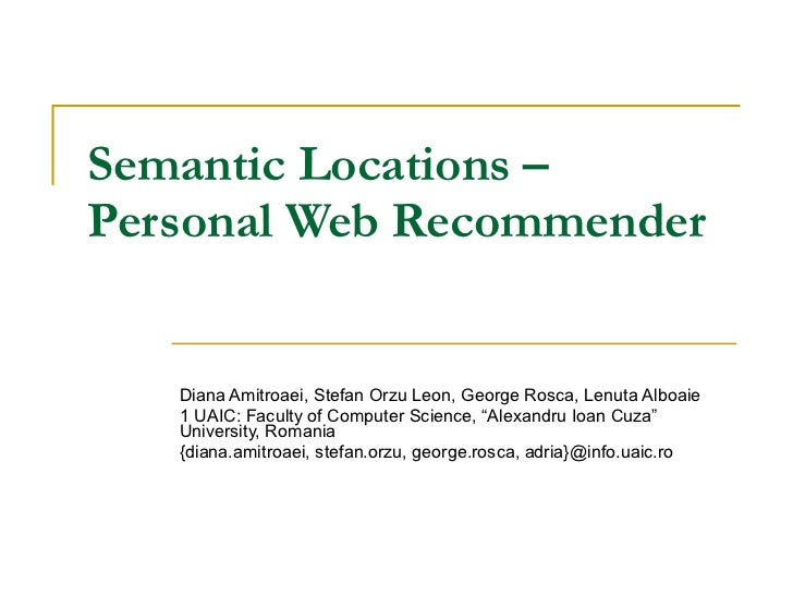 Semantic locations – personal web recommender