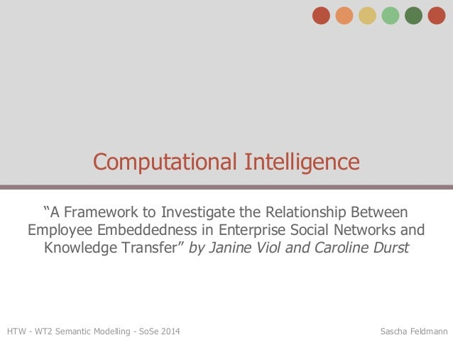 "HTW - WT2 Semantic Modelling - SoSe 2014 Sascha Feldmann Computational Intelligence ""A Framework to Investigate the Relati..."