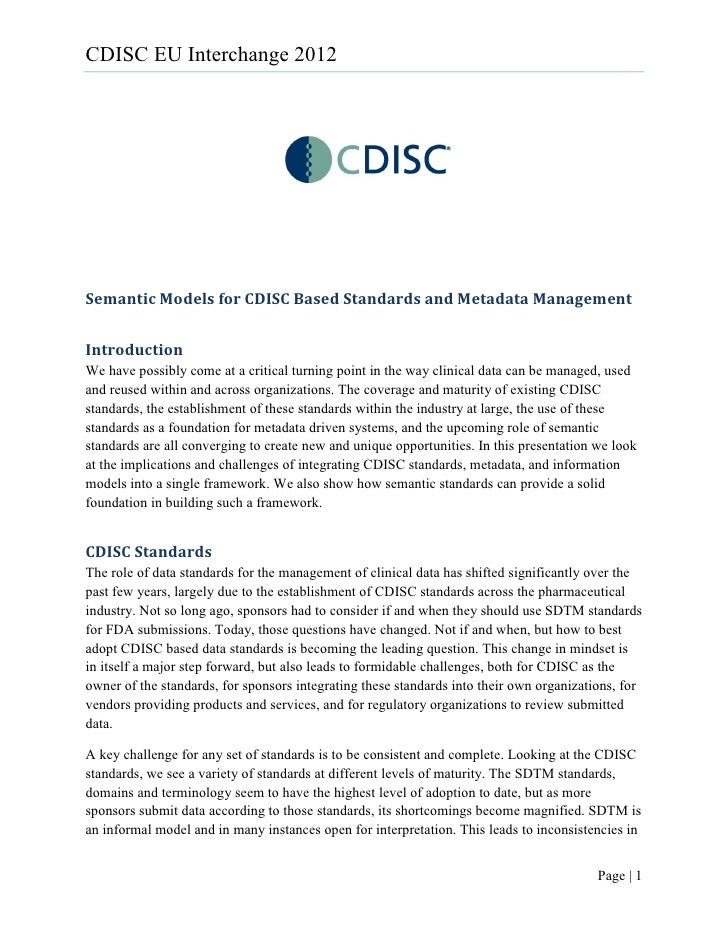 Semantic models for cdisc based standards and metadata management (1)