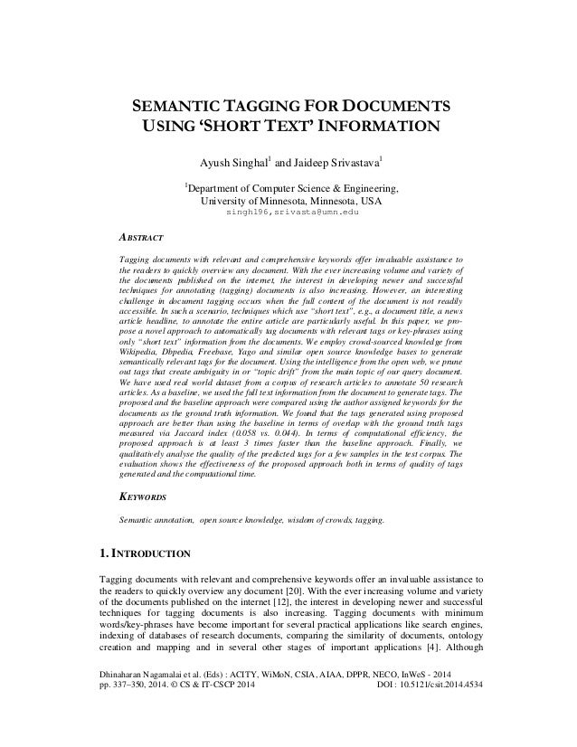 Semantic tagging for documents using 'short text' information