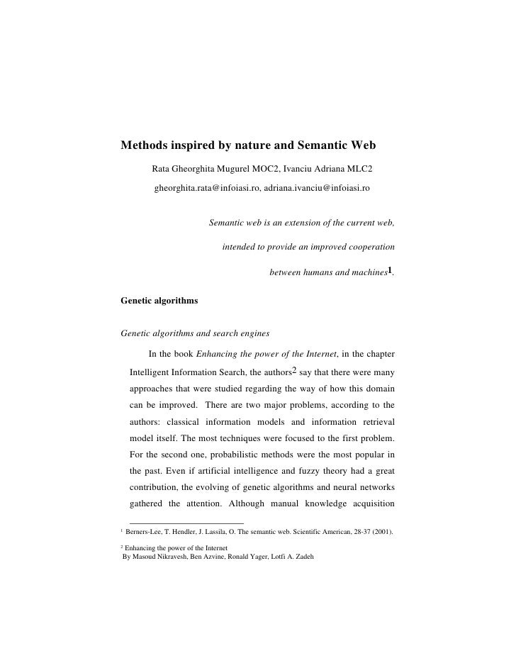 Methods inspired by nature and Semantic Web              Rata Gheorghita Mugurel MOC2, Ivanciu Adriana MLC2               ...