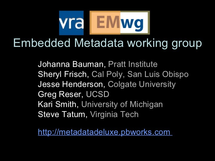 Embedded Metadata working group