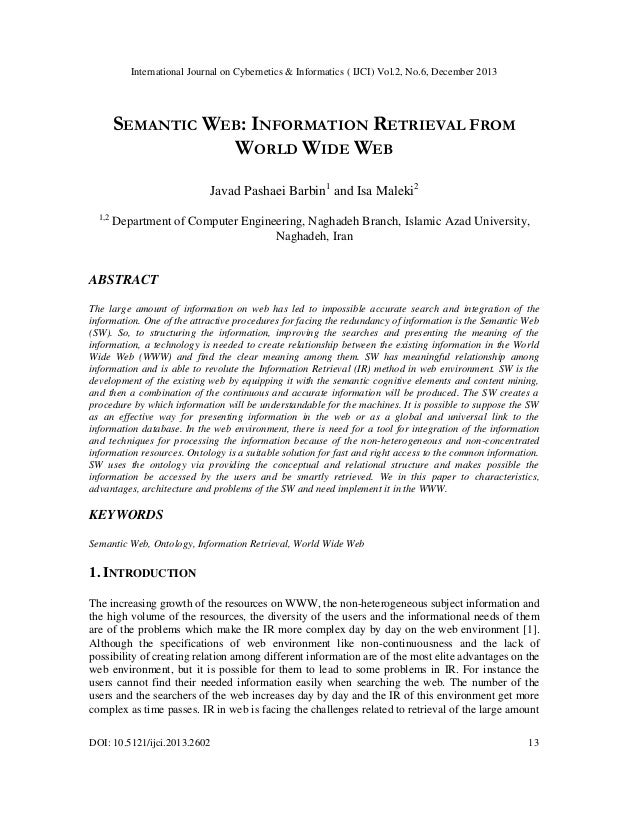 SEMANTIC WEB: INFORMATION RETRIEVAL FROM WORLD WIDE WEB