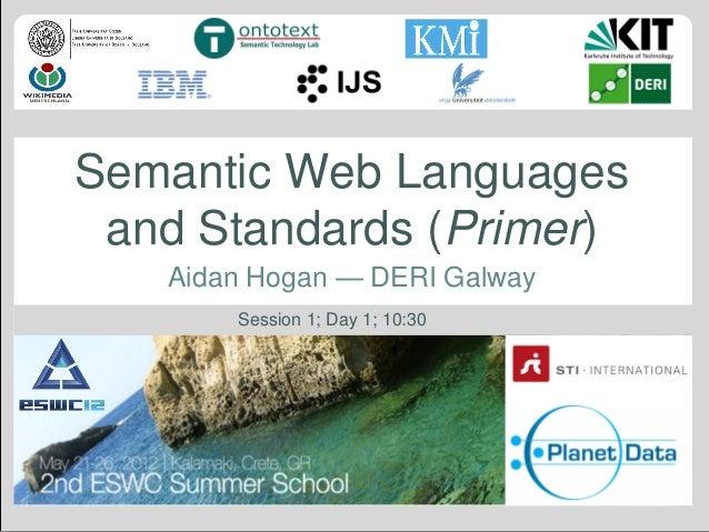 Semantic Web Languages and Standards (Primer) Aidan Hogan — DERI Galway Session 1; Day 1; 10:30