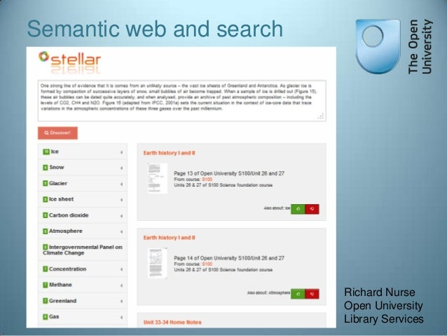 Semantic web and search  Richard Nurse Open University Library Services