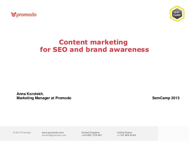 Content Marketing for SEO and Brand awareness
