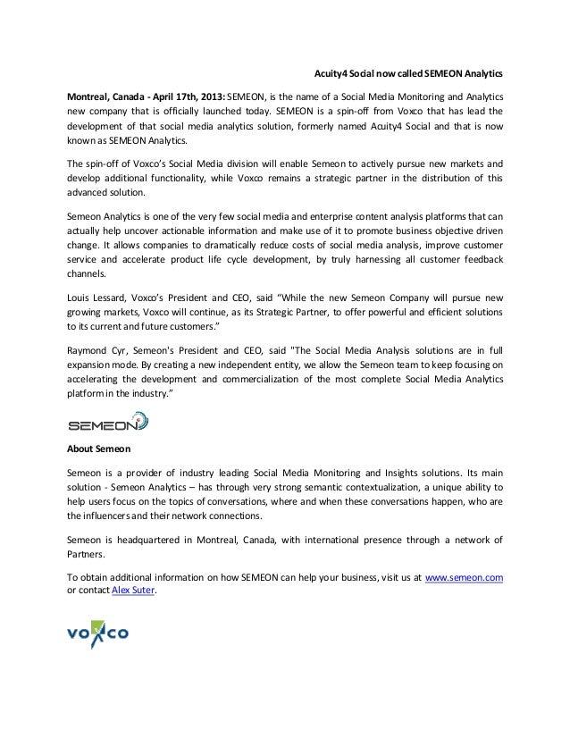 Semeon Press Release