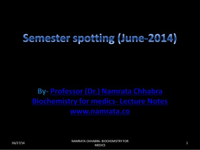 06/27/14 1 NAMRATA CHHABRA- BIOCHEMISTRY FOR MEDICS