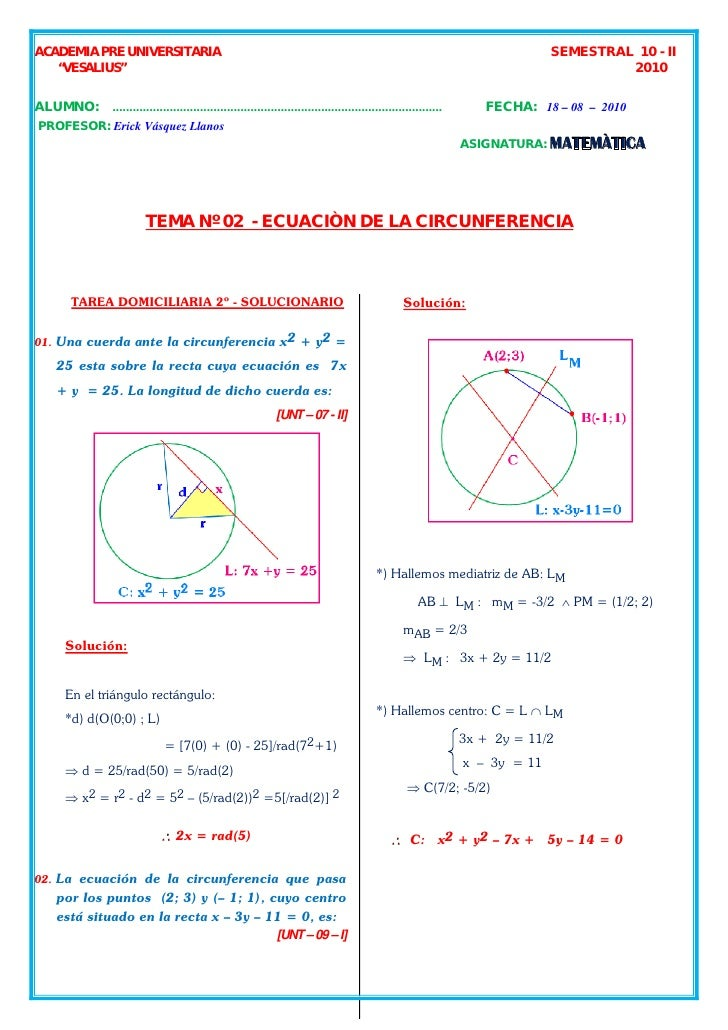 Semestra l_10_ii_02_geo an_ ecuacion_circunferencia_solucionario