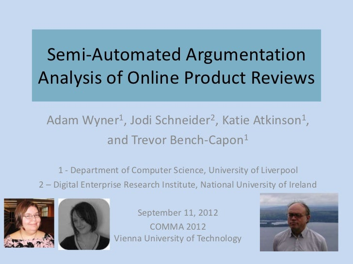 Semi-automated argumentation analysis of online product reviews--COMMA 2012-09-11
