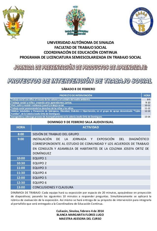 UNIVERSIDAD AUTÓNOMA DE SINALOA FACULTAD DE TRABAJO SOCIAL COORDINACIÓN DE EDUCACIÓN CONTINUA PROGRAMA DE LICENCIATURA SEM...