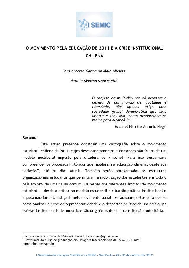 O MOVIMENTO PELA EDUCAÇÃO DE 2011 E A CRISE INSTITUCIONAL                                                ...