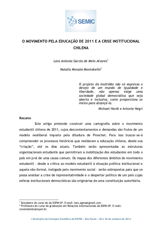 O movimento pela educação de 2011 e a crise institucional chilena