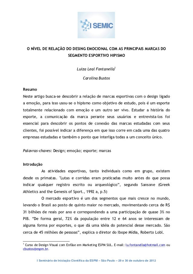 O NÍVEL DE RELAÇÃO DO DESING EMOCIONAL COM AS PRINCIPAIS MARCAS DO                             SEGMENTO ESPORTIVO HIPISMO ...