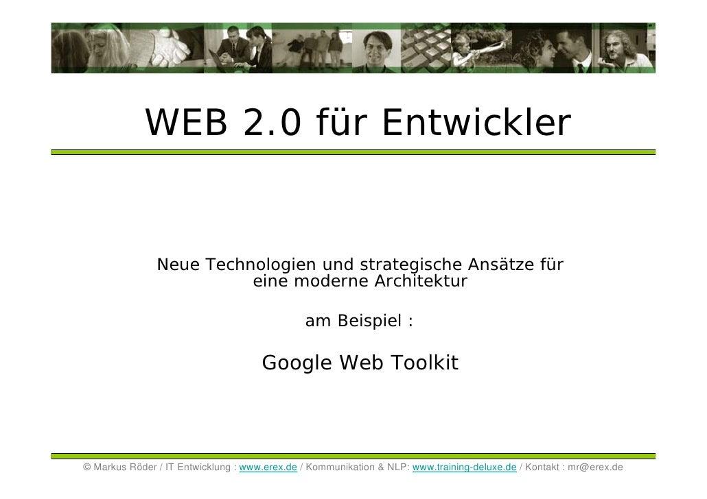 Web2 am Beispiel Google Mail, Text und Web Toolkit