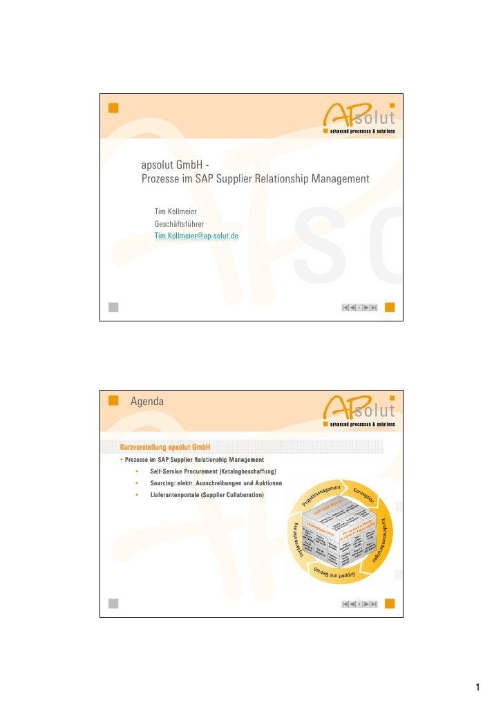 apsolut GmbH -       Prozesse im SAP Supplier Relationship Management             Tim Kollmeier            Geschäftsführer...