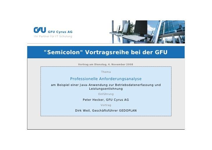 """g        GFU Cyrus AG Ihr Partner für IT Schulung           """"Semicolon"""" Vortragsreihe bei der GFU                         ..."""