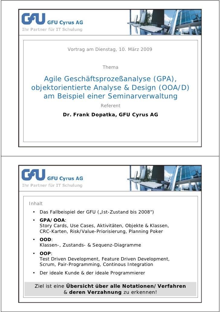 Agile Geschäftsprozeßanalyse OOA/D am Beispiel einer Seminarverwaltung