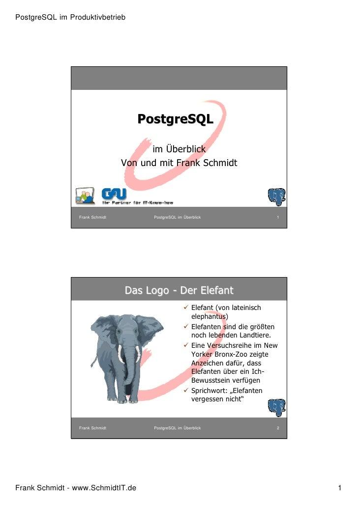 PostgreSQL im Produktivbetrieb