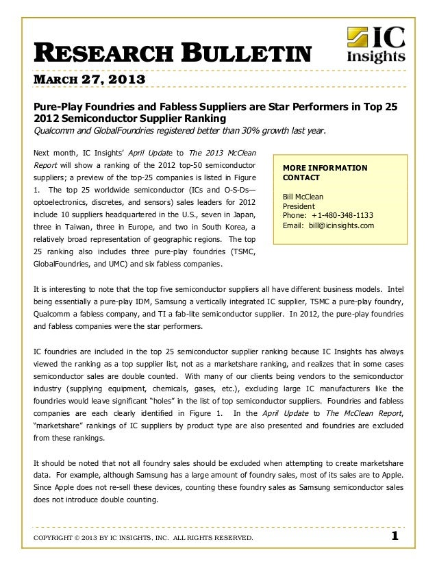 RESEARCH BULLETINMARCH 27, 2013Pure-Play Foundries and Fabless Suppliers are Star Performers in Top 252012 Semiconductor S...
