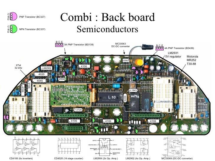 Combi : Back board Semiconductors . LM2931 5V regulator XTal 32 kHz MC33063 DC-DC converter CD4106 (6x inverters) CD4020 (...
