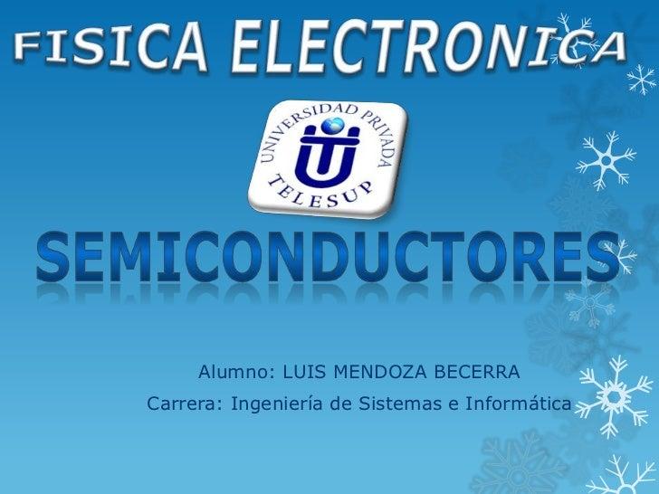 Alumno: LUIS MENDOZA BECERRACarrera: Ingeniería de Sistemas e Informática