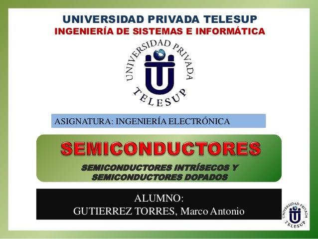UNIVERSIDAD PRIVADA TELESUP  INGENIERÍA DE SISTEMAS E INFORMÁTICA  ASIGNATURA: INGENIERÍA ELECTRÓNICA  SEMICONDUCTORES INT...