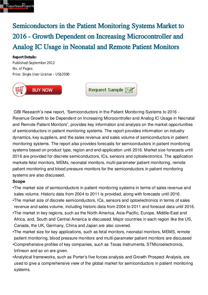 Semiconductors in the Patient Monitoring Systems Market to2016 - Growth Dependent on Increasing Microcontroller andAnalog ...