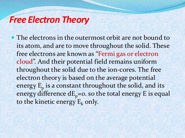 free electron theory Electron theory states all matter is comprised of molecules, which in turn are comprised of atoms, which are again comprised of protons, neutrons and electrons a molecule is the smallest.