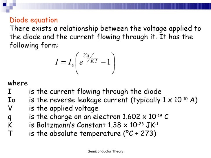 Current Equation of Diode Diode Equation There Exists a