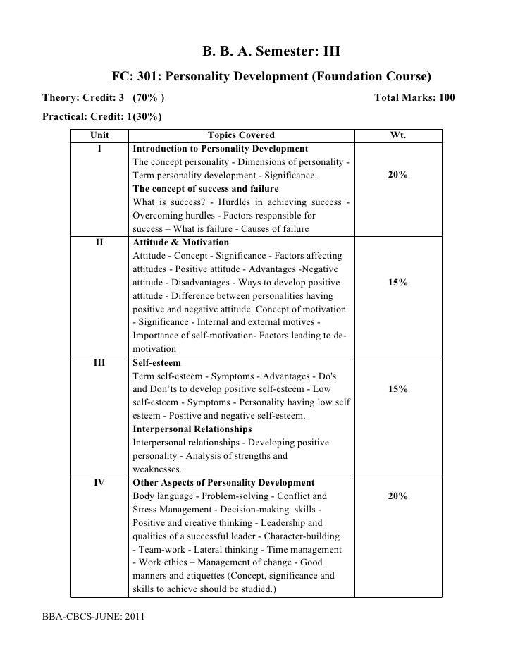 B. B. A. Semester: III                 FC: 301: Personality Development (Foundation Course)Theory: Credit: 3 (70% )       ...