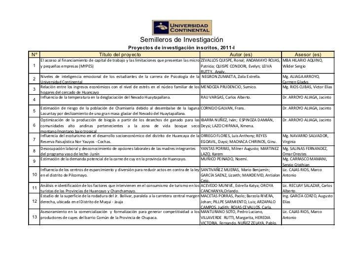Semilleros proyectos inscritos2011
