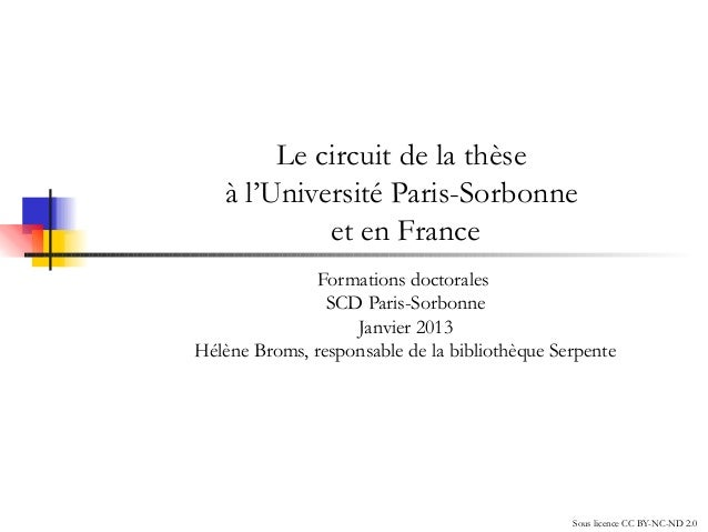 Séminaire Les Humanités numériques (9/1/2013) : Le circuit de la thèse