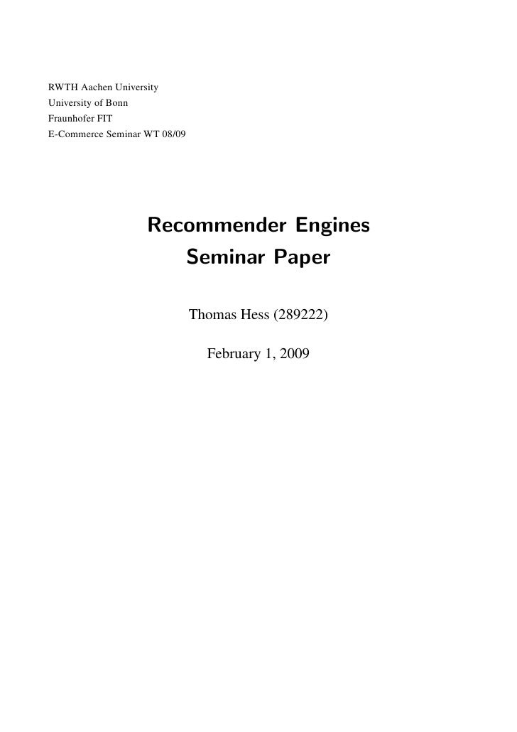 Recommender Engines Seminar Paper