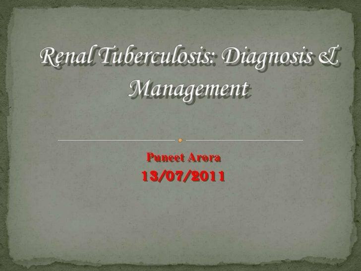 Renal Tuberculosis: Diagnosis & Management<br />PuneetArora<br />13/07/2011<br />