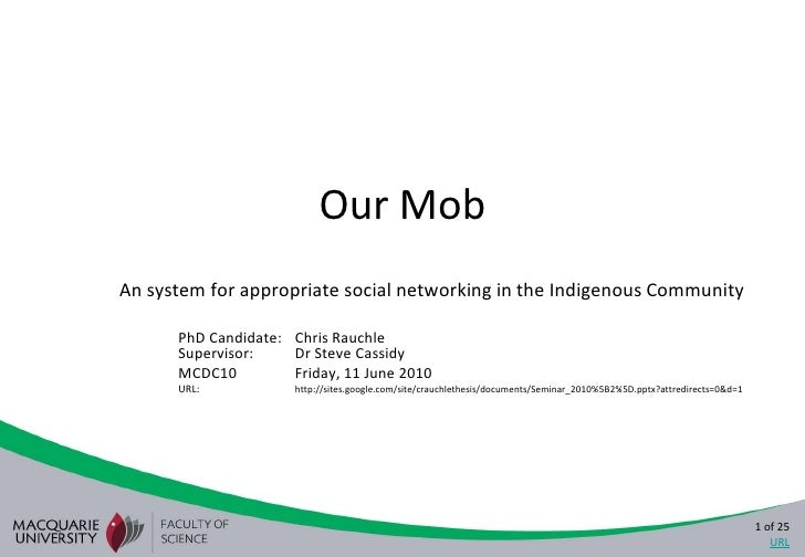 Our Mob<br />An system for appropriate social networking in the Indigenous Community<br />PhD Candidate:Chris RauchleSupe...