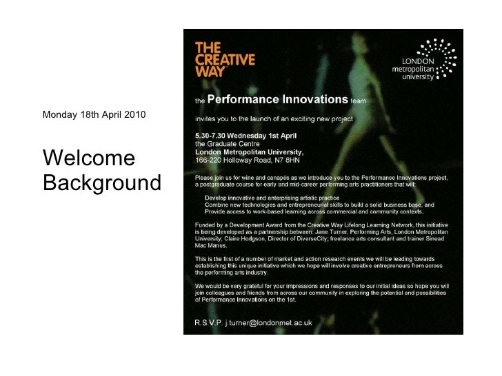 Monday 18th April 2010 Welcome Background