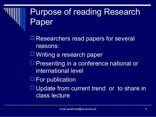 The purpose of a research paper