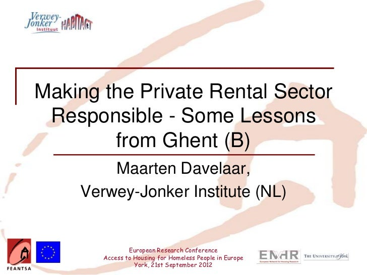Making the Private Rental Sector Responsible – Some Lessons from Ghent (Belgium)