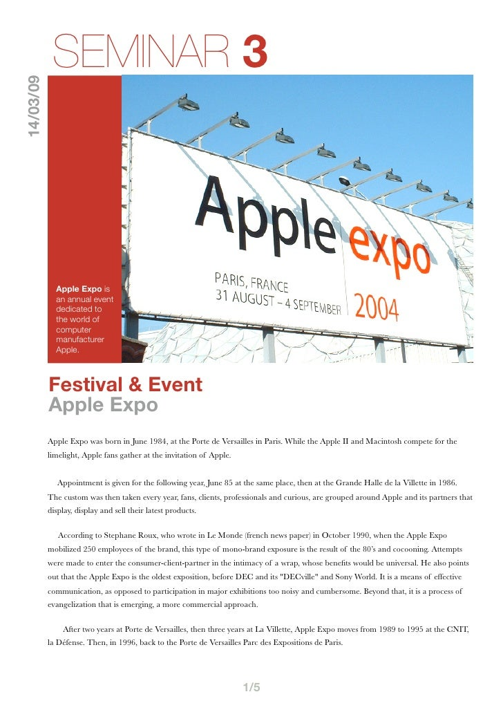 SEMINAR 3 14/03/09                  Apple Expo is              an annual event              dedicated to              the ...