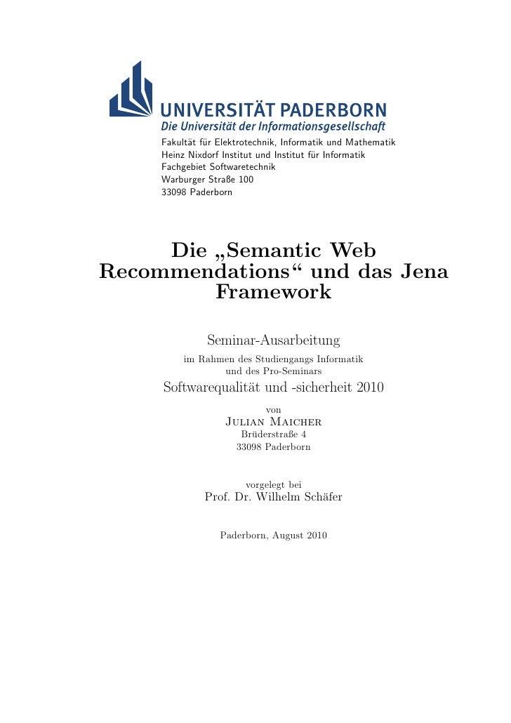 """Die """"Semantic Web Recommendations"""" und das Jena Framework"""