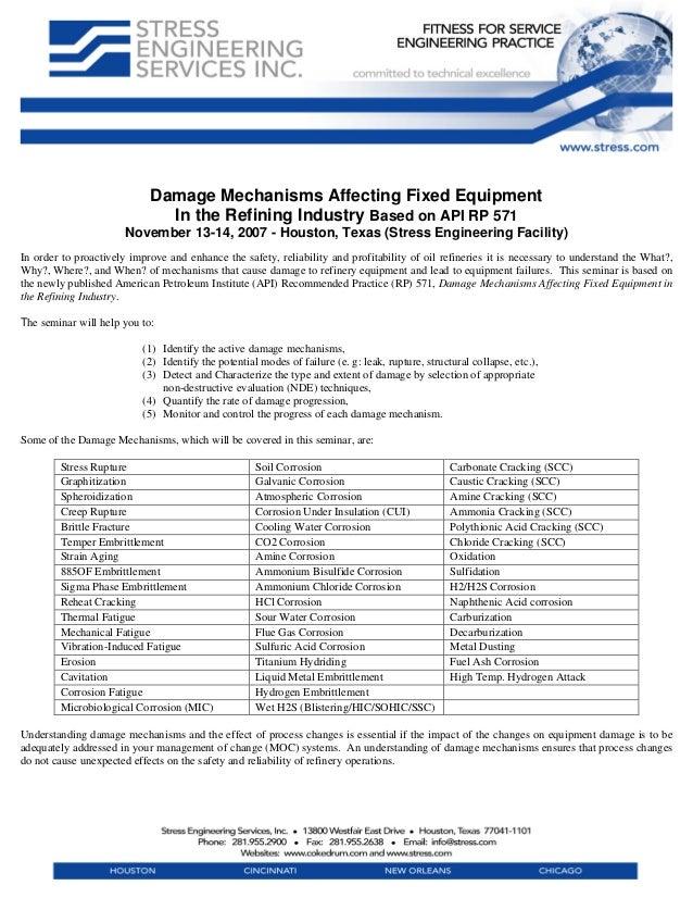 Damage Mechanisms Affecting Fixed EquipmentIn the Refining Industry Based on API RP 571November 13-14, 2007 - Houston, Tex...