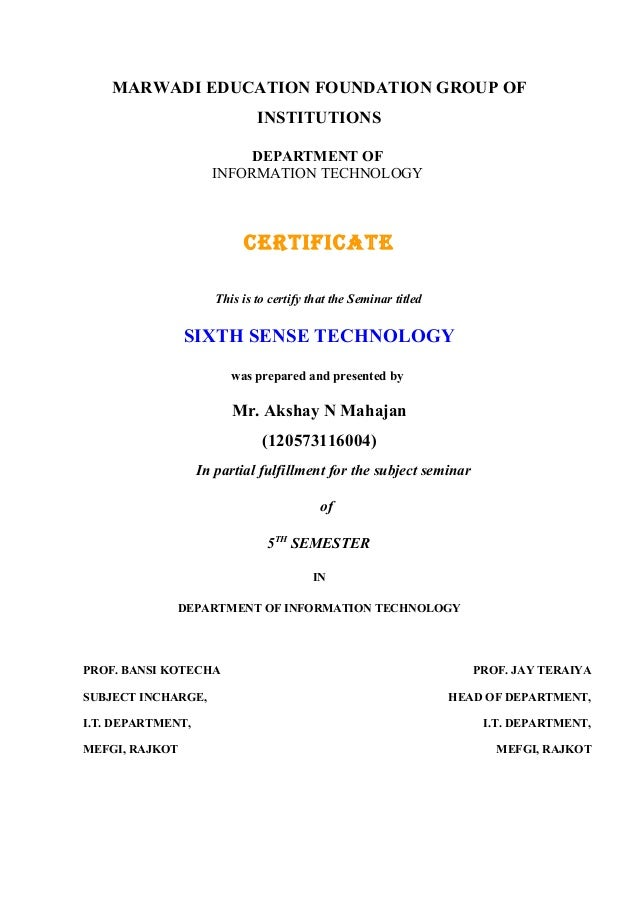 MARWADI EDUCATION FOUNDATION GROUP OF INSTITUTIONS DEPARTMENT OF INFORMATION TECHNOLOGY  CERTIFICATE This is to certify th...