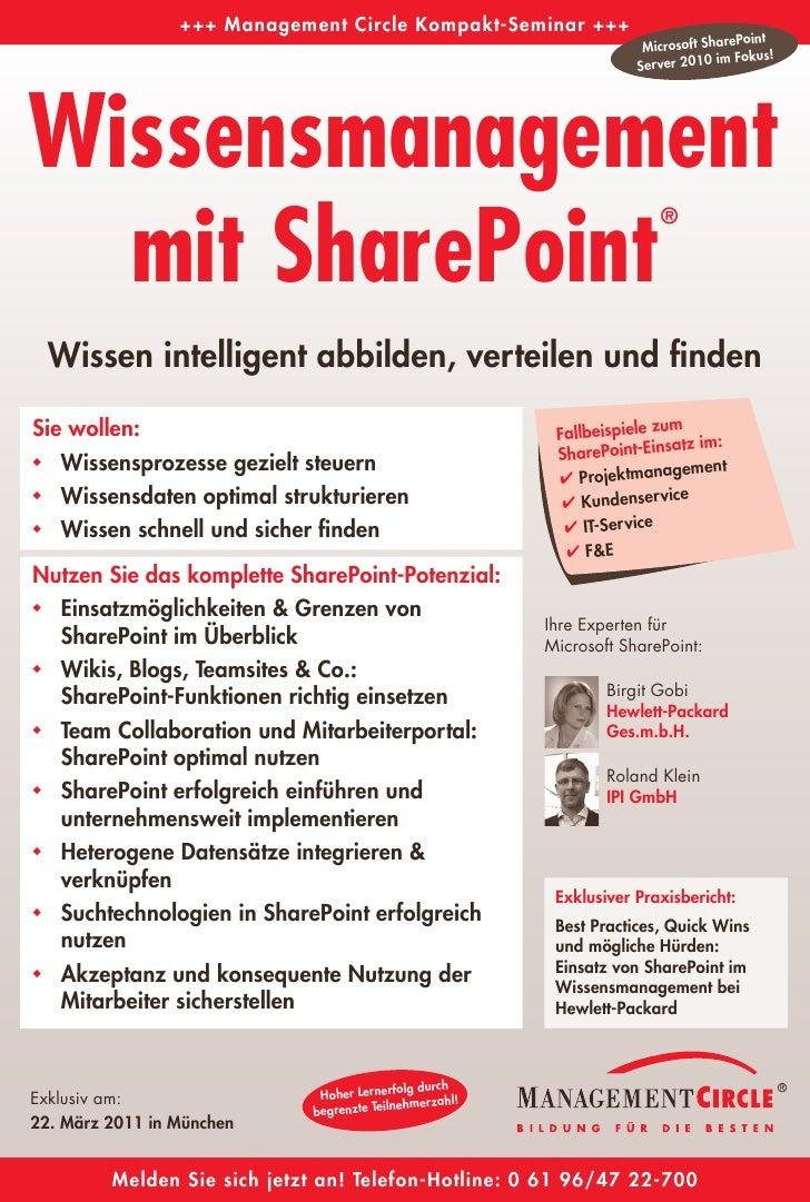 Seminarflyer   wissensmanagement mit share point