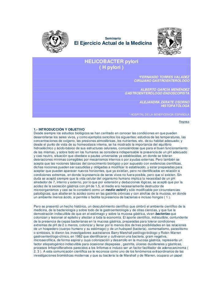 Seminario                            El Ejercicio Actual de la Medicina                                    HELICOBACTER py...